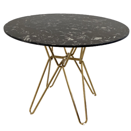 Modern black round Hairpin Dining table with gold leg