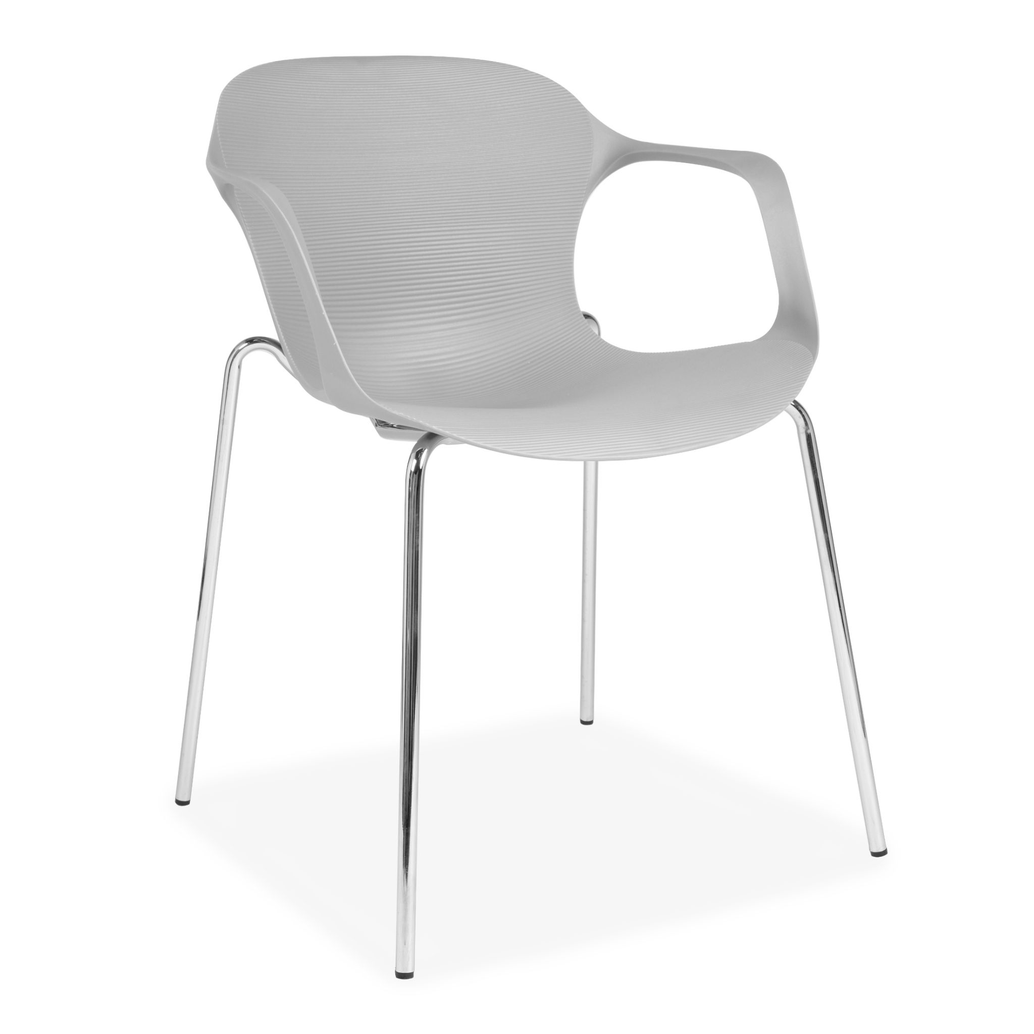 X2 Or X6 Grey Plastic Stackable Dining Chair With Metal Chrome Legs